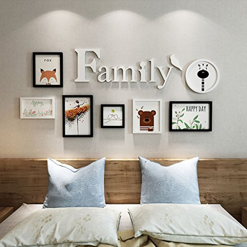Home@Wall photo frame Photo Frames ,7 Pcs/sets Collage Photo Frame Set,Vintage Picture Frames,Family Picture Frame Wall DIY Photo Frame Sets For Wall ( Color : B , Size : 7FRAMES/19486CM ) by ZGP