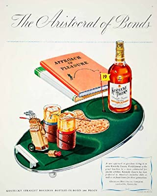 1947 Ad Kentucky Tavern Golf Alcohol Drink Beverage Bag Clubs Bottle Bond Green - Original Print Ad