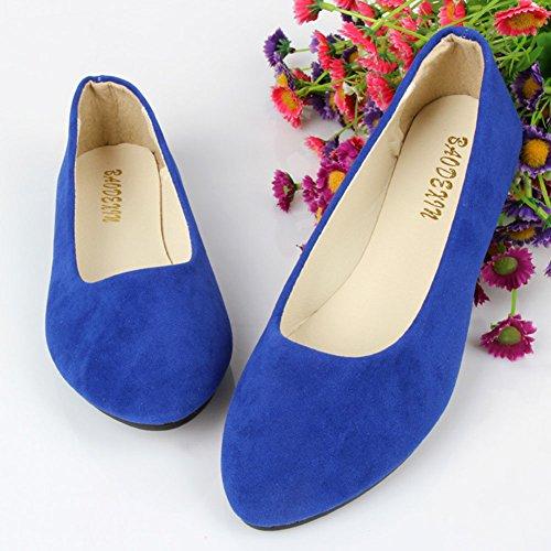 Bailarinas Moda Sintética Básicas Planos Blue Piel de y Mujer Ocio Zapatos Saphir URzdqUw