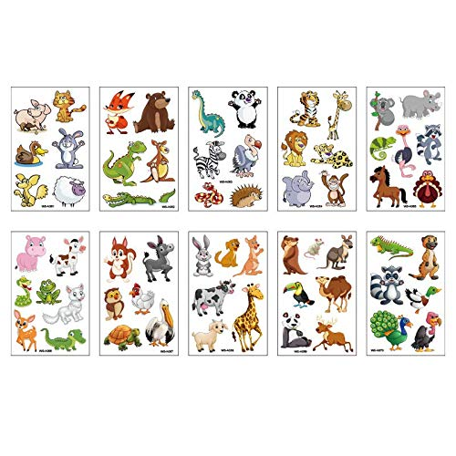 10PCS/Package Animal tattoo stickers children's cartoon animal forest friends 3d temporary disposable tattoo stickers waterproof sweat