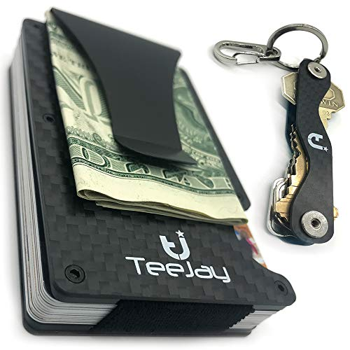 Carbon Fiber Minimalist Wallet & Key Organizer. RFID Blocking Slim Wallet & Money Clip, Font Pocket Wallets for Men, Credit Card Holder, Maintenance Kit.Great Gear for Everyday Use or Hiking on Ridge