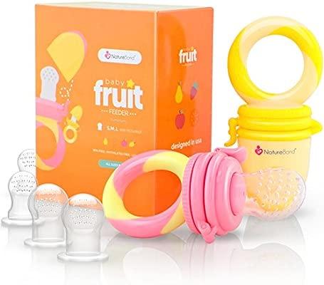 Alimentador antiahogo bebe, chupete fruta bebe de NatureBond (2 piezas), mordedores bebes | Además incluye bolsitas de silicona de todos los tamaños
