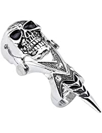 1pc Men's Silvery Armour Knuckle Full Finger Double Ring Punk Rock Gothic Cool