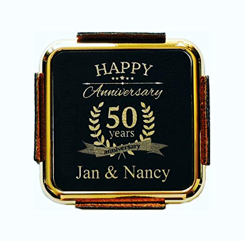 50TH Anniversary Gift, Leather Coasters Personalized With Names ()