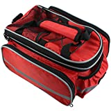 Bike Rear Seat Waterproof Multi Function Excursion Cycling Bicycle Trunk Bag Carrying Luggage Package Rack Panniers with Rainproof Cover(Red) RUKEY