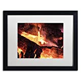 Trademark Fine Art Fireplace by Kurt Shaffer, White Matte, Black Frame 16x20-Inch