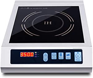 LKZAIY 3500W Induction Cooktop Portable Commercial Induction Cooker Stove Electric Countertop Burner Hot Plate for Cooking with Digital Display Panel & Touch Button (Single Burner)