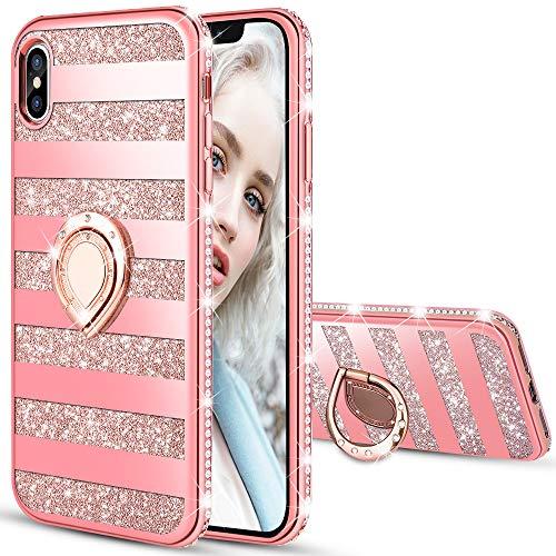Maxdara Case for iPhone Xs Max Glitter Case Striped Ring Grip Holder Kickstand with Bling Sparkle Diamond Rhinestone Bumper Luxury Pretty Fashion Girls Women XS Max Case 6.5 inch (Rosegold)