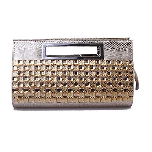 EROUGE Handbags Women Leather Handbags Purse Luxury for Rhinestone Evening Clutch Gold Designer rqw4rY