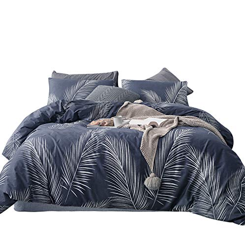 SUSYBAO 3 Pieces Duvet Cover Set 100% Natural Cotton Queen Size White Leaf Print Bedding Set with Zipper Ties 1 Bluish Grey Botanical Duvet Cover 2 Pillowcases Luxury Quality Comfortable Easy Care