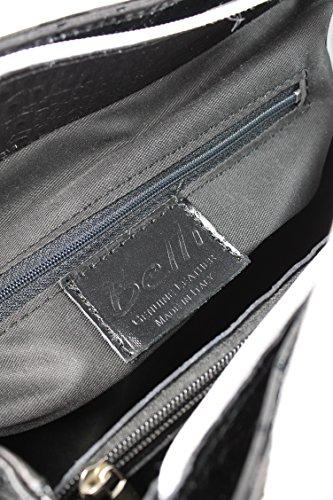 Belliâ® Top Classico In Vera Pelle Borsa A Manico Borsa Nero Bianco Croco Goffratura - 36x25x18 Cm (lxaxp)