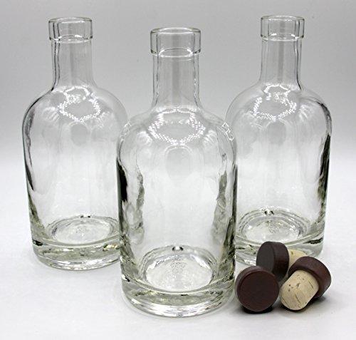 Bourbon Bottle (Nordic Bottles - 3 Pack - 375ml (12oz.) Bottles with Dark Wood Bar Top Cork Caps)