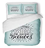 Emvency 3 Piece Duvet Cover Set Breathable Brushed Microfiber Fabric Hand Lettering Everything is Possible for Him Who Believes Christian New Bedding Set with 2 Pillow Covers Twin Size