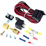 Partssquare 175-185 Degree Electric Cooling Fan Thermostat Kit Temp Sensor Temperature Switch 40 amp RELAY KIT