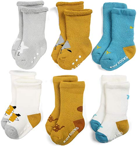 (Zaples Unisex Baby Socks 6 Pack Soft Cotton Terry Infant & Toddler Thick Crew Socks)