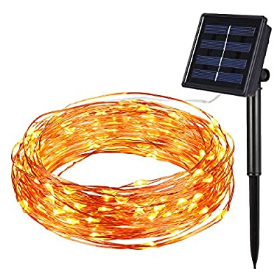 Amir 8 Lighting Modes Solar String Lights, 100 LEDs Solar Starry String Lights, Indoor/Outdoor Copper Wire Lights, Waterproof Decoration Lights g for Patio, Gardens, Parties (Warm White) from Amir