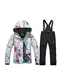 Fashion Women's High Waterproof Snowboard Colorful Printed Ski Jacket and Pants