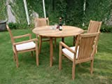 Cheap Grade-A Teak Wood Luxurious Dining Set Collections: 5pc – 52″ Round Table and 4 Cahyo Stacking Arm Chairs #TSDSCH2