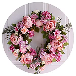 Christmas Simulation DIY Artificial Flower Garland Wreath Set Door Garland Home Wedding Party Garden Decor Wreath Fake Flowers,Rose Pink 23