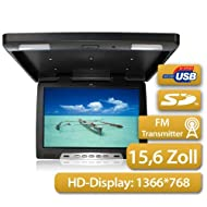 Moniteur Overhead 39,63cm (comme 15,6 pouces), 16\:9 , 1366 * RGB * 768, USB et port SD, Incl. IR - et FM - Transmetteur, Pal et NTSC , 2x vidéo & 1x Audio - IN, avec éclairage intérieur du toit, noir