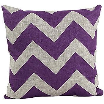 DECORLUTION Decorative Cotton Linen Throw Pillow Cover Chevron Stripe  Pillowcase 18x18 Inch Purple