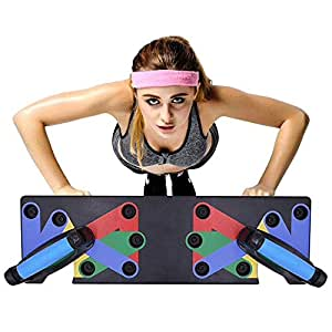 Lesgos Push Up Board, 9 in 1 Multi-Position Push Up Rack Board, Portable Fitness Exercise Training Color Coded System for Men Women Home Gym Workout