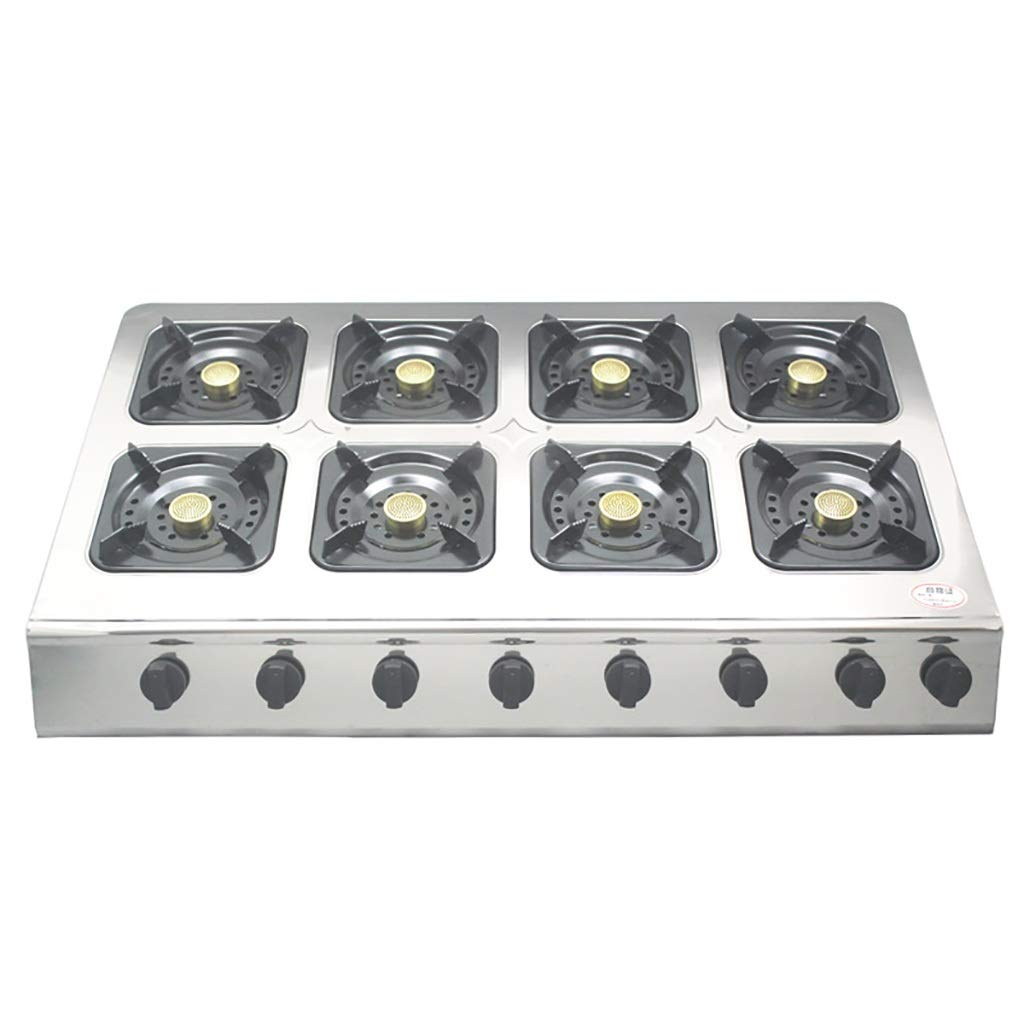 Natural Gas Cooktops,Stainless Steel Kitchen Hotel Outdoor, Restaurant, Home Desktop Rectangles 8 Burner Cooker Multi-Function Stove by LQ-Stoves