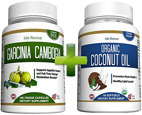 Garcinia Cambogia and Coconut Oil Capsules - Bundle 95% HCA for Weight Loss Fat Burner Appetite Suppressant Diet Pills Promotes Hair Skin Nails Energy Acne High in MCT Health Wellness Made in USA