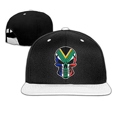 AJHGD South African Flag Skull-1 Unisex Hiphop Flat Bill Snapback Caps Plain Cotton Baseball Cap for Men