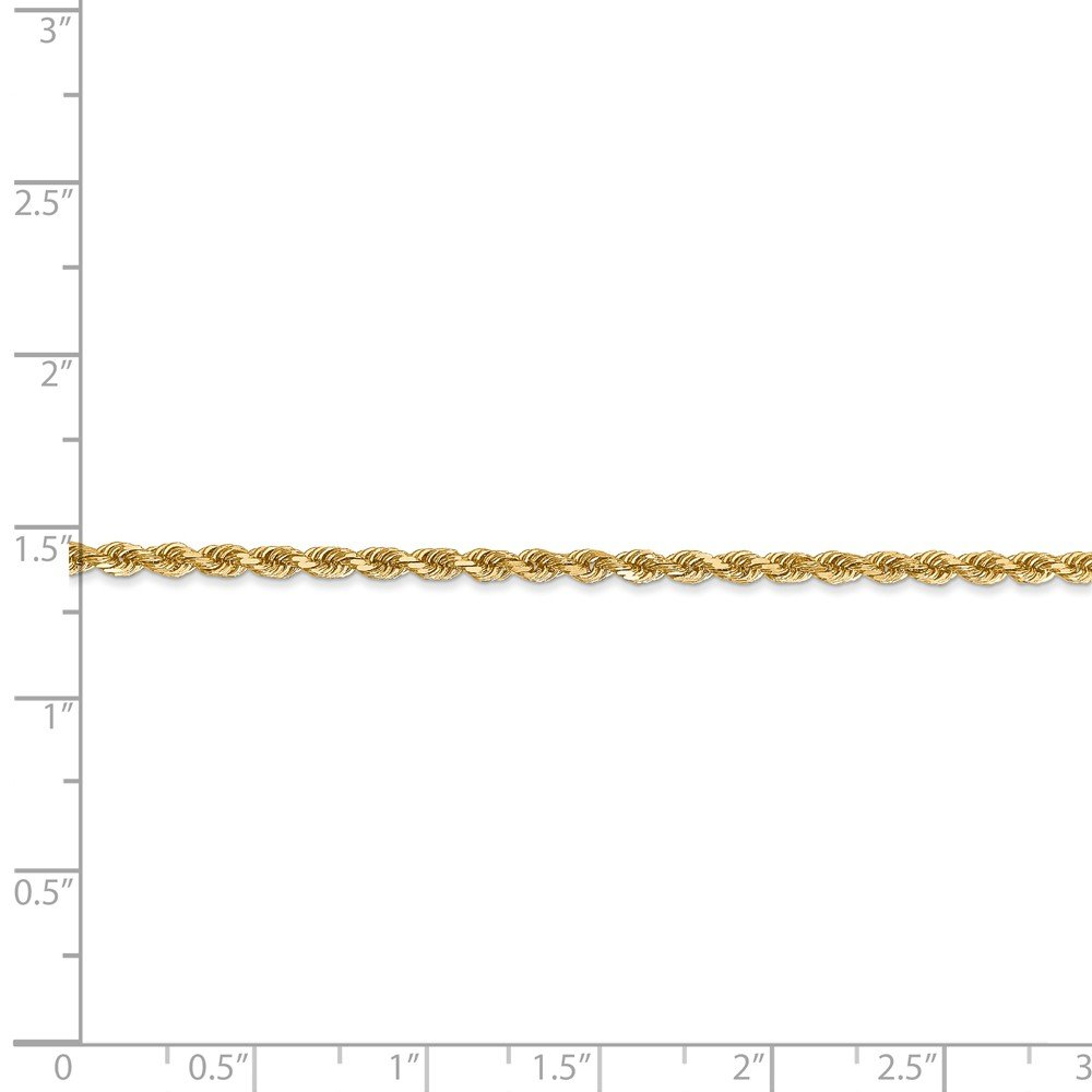 Diamond2Deal 14k Yellow Gold 2.25mm Rope Chain with Lobster Clasp Fine Jewelry Ideal Gifts for Women