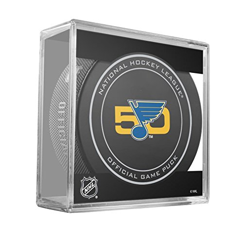 2016-17 St Louis Blues 50th Anniversary Game Hockey Puck W/Cube