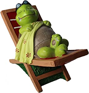 Turtle Garden Statue Outdoor Accessory Figurine Turtle Lying on Chair Statue for Yard Ornaments and Fairy Garden Accessories, Indoor Outdoor Decoration Sculpture (Turtle)
