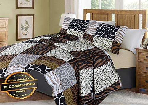 Werrox #3 Animal Pathwork Safari Jungle Quilt Set Bed Cover Bedding Quilted Bedspread King Size | Quilt Style -