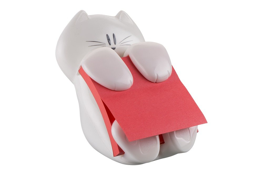 Post it Notes Cat Dispenser and Super Sticky Z Note Pad, Red (90 sheets)