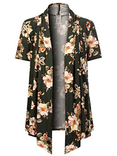 MixMatchy Women's [Made in USA] Solid Jersey Knit Short Sleeve Open Front Draped Cardigan (S-3XL) Olive Flower Print S - Cardigan Print Ribbed
