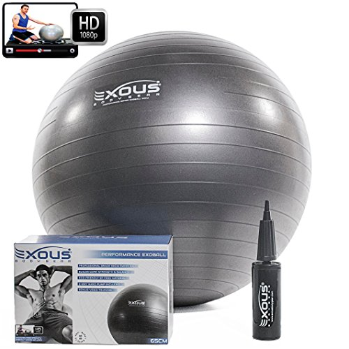 Exercise Yoga Core Stability Balance Fitness Ball 65cm Anti Burst With Professional Online Videos 2-way-pump For Abdominal, Pilates Training Maternity Birthing Ball & Pregnancy Non-Slip Grip BPA FREE