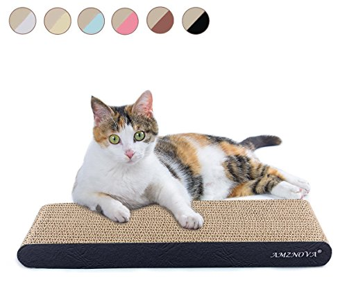 AMZNOVA Cat Scratcher, Durable Cardboard, Cat Scratching Pad with Catnip, Narrow, Textured Black(Upgraded)