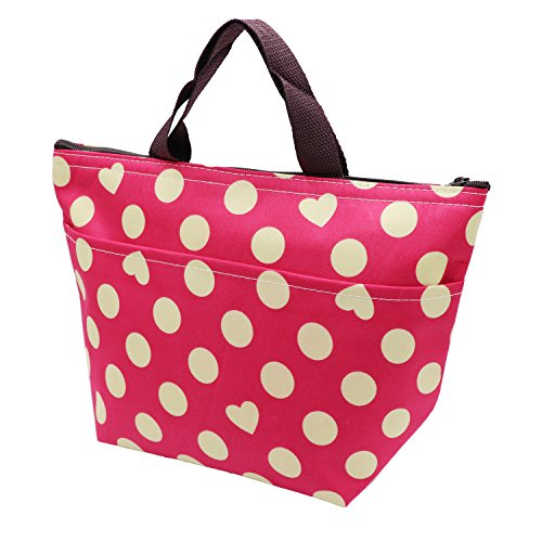 Insulated Lunch Bag Small Thermal Lunch Box Tote Cooler Bag for Women Kids Teens Teenage Girls Toddlers (Rose (Dots))