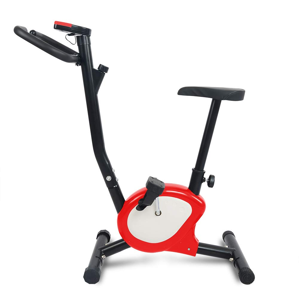 Apelila Exercise Bike Stationary Bike,Cardio Trainer Spinning Bicycle Indoor Cycling Bike (Red+WH)