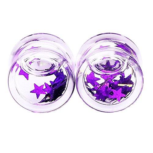 Qmcandy 2pcs Acrylic Liquids Floating Purple Star Ear Plug Gauge 2g (Star Saddle Plug)