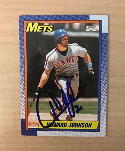 HOWARD JOHNSON NEW YORK METS SIGNED AUTOGRAPHED 1990 TOPPS CARD #680 (Mini Autographed Card)