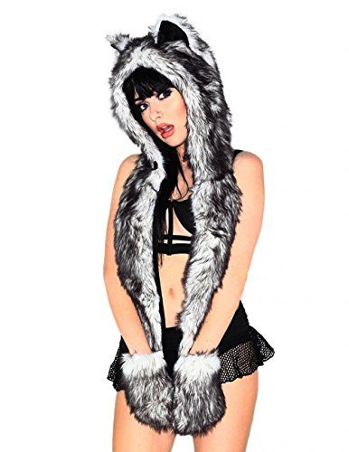 Faux Fur Hood - iHeartRaves Husky Animal Hood, Hat, Scarf and Paw Mittens Furry Hoodie (Black)
