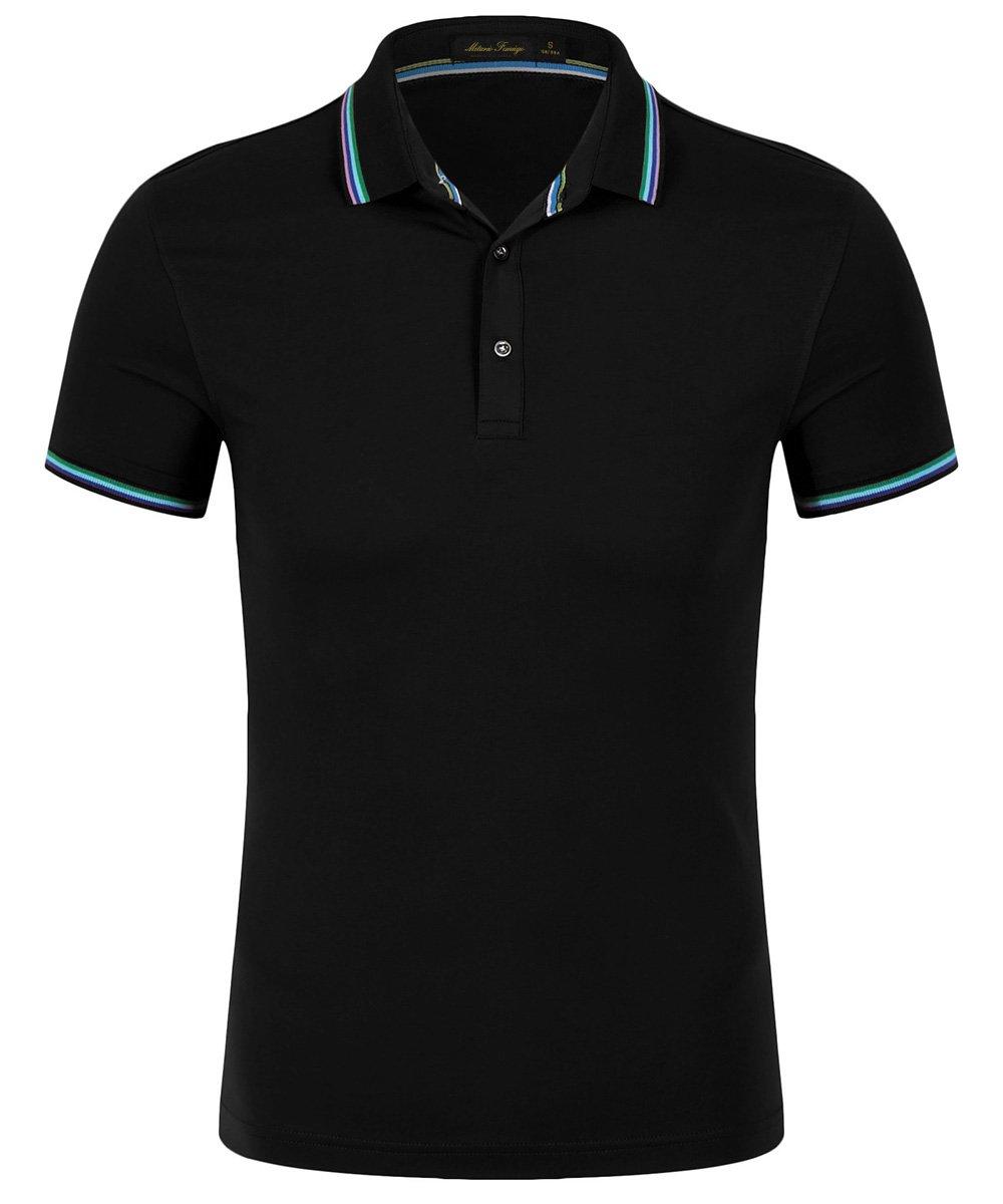 Mitario Femiego Women Classic Stripe Collar Slim Fit Short Sleeves Golf Performance Polo Shirt Black XXS