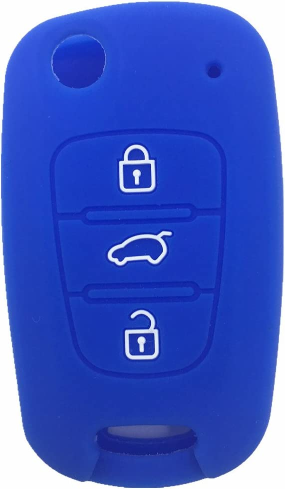 Black and Blue 3 Buttons Remote Skin Jacket Silicone Cover Key Case Holder Bag Key Fob Skin Covers fit KIA Sportage Optima Rio Soul