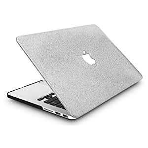 KEC MacBook Pro 13 Case 2017 & 2016 Plastic Hard Shell Cover A1706 / A1708 with/without Touch Bar (Silver Sparkling)