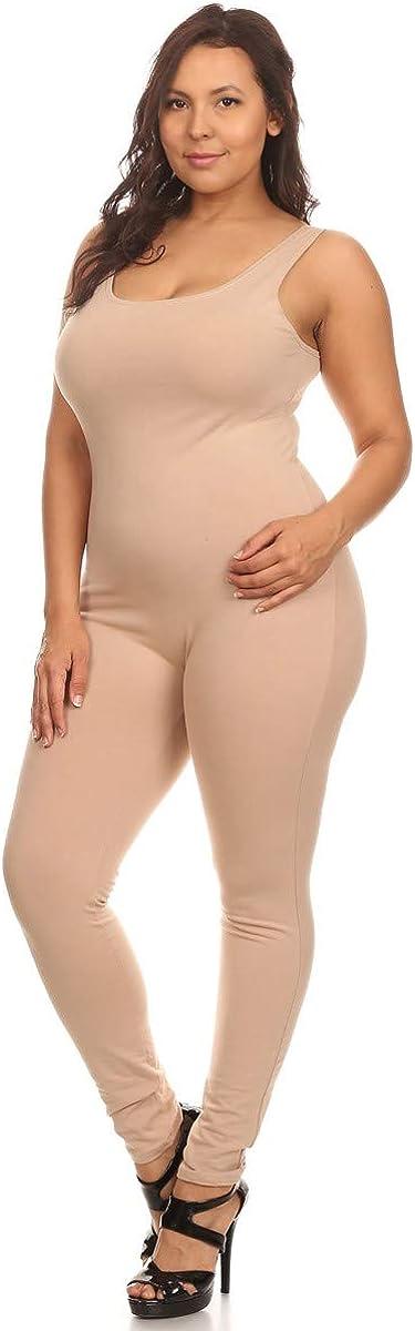 Stretch Cotton Bodysuit Womens Scoop Neck Sleeveless Stretch Cotton One Piece Jumpsuits Unitard Bodysuits /&Plus