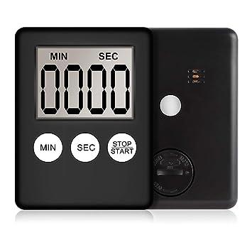 Reloj digital de cocina con temporizador de cocina con anillos fuertes, pantalla LCD más grande, lectura con reloj magnético fácil negro: Amazon.es: Hogar