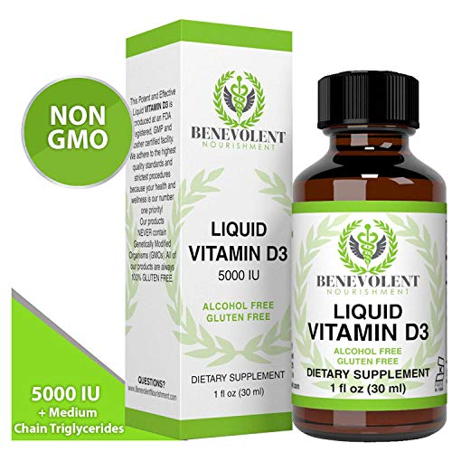 Vitamin D3 Drops 5000 IU - Potent & Effective 1000 IU per Drop - Fast Absorbing Liquid Dietary Supplement - 100% Alcohol & Gluten Free (Vitamin D3 5000 Iu Liquid)