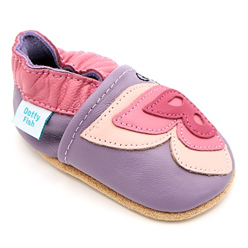 Toddler Pastel Pink Footwear - Dotty Fish Soft Leather Baby Shoes with Non Slip Suede Soles. Toddler Shoes. Lilac and Pink Pretty Butterfly Design Shoe for Girls. 12-18 Months