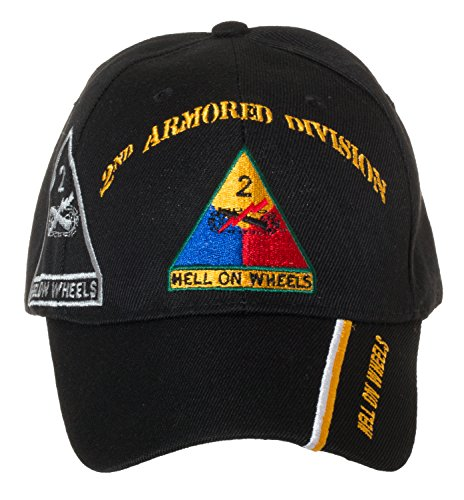 Artisan Owl Officially Licensed US Army Armored Division Black Embroidered Baseball Cap - Multiple Divisions Available! … (2nd (Division Military Hat)